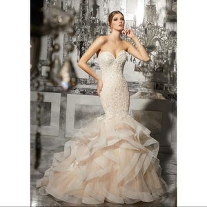 White wedding gown with rhinestones, lace